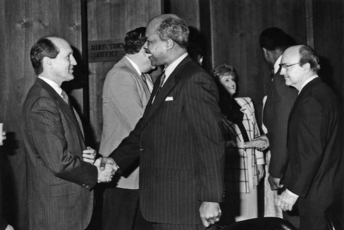 This 1989 photograph showed (left to right) Dr. Gary R. Noble as he was shaking hands with the newly appointed Secretary of Health and Human