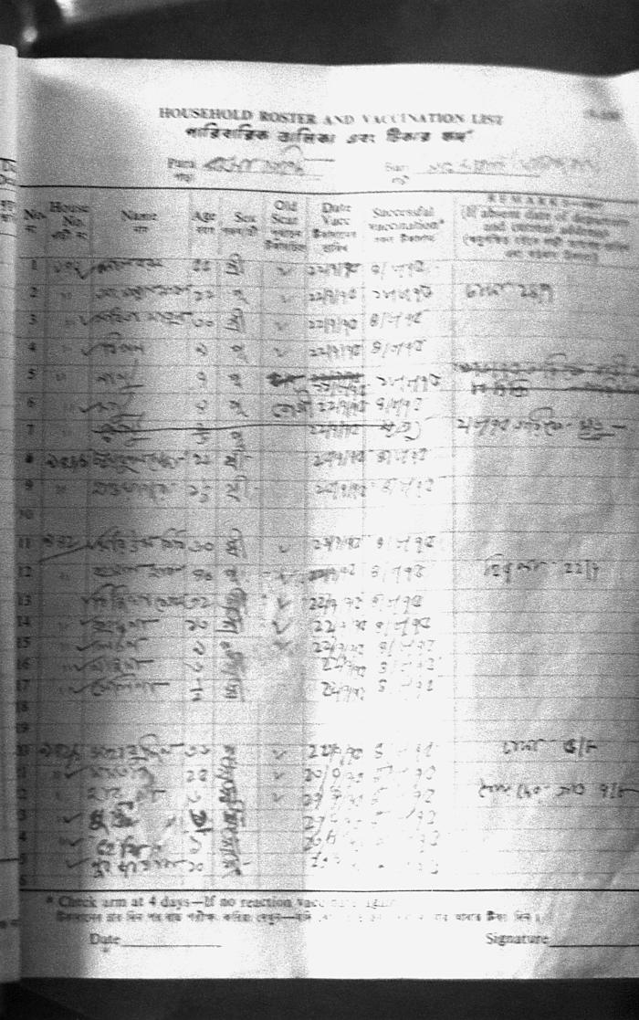 This was a detailed view of a 'Containment Book' page listing data pertaining to those community homes that had been visited, and the finds