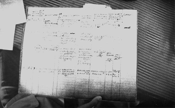 Though not entirely legible, this 1975 photograph depicted a chart, which contained information pertaining to the house to house search acti