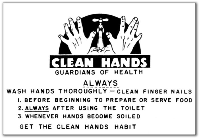 This historic sign was created by the Minnesota Department of Health in the 1930s admonishing food service workers to wash their hands frequ