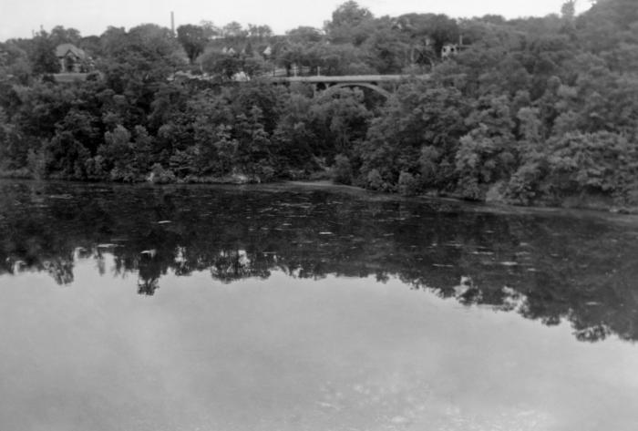 This was a historic view of the Mississippi River from its west bank, about 500 feet north of the Lake Street Bridge, in Minneapolis, Minnes