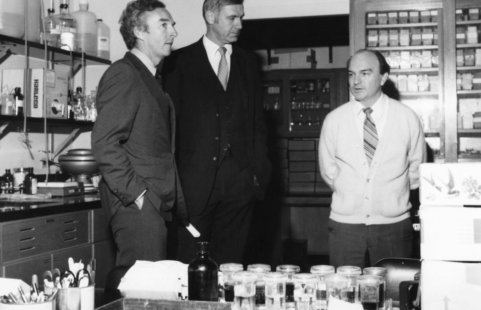 U.S. Senator Wyche Fowler (D-Ga.) (left), is shown here during a tour of the Centers for Disease Control laboratories led by CDC Director Wi