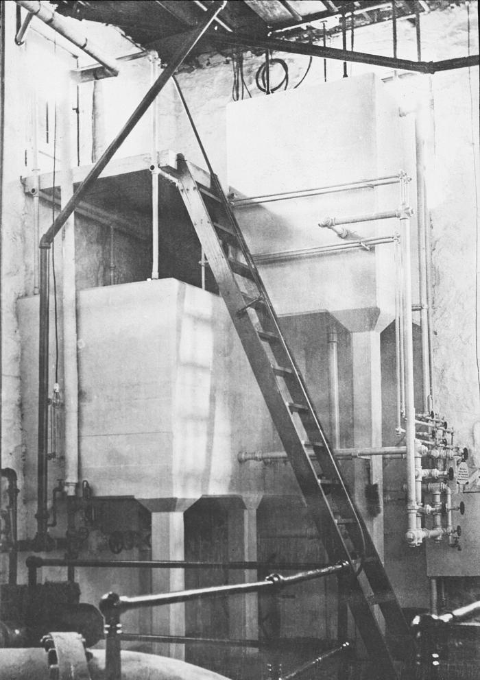 This historic 1913 photograph depicted the inside of the Duluth, Minnesota hypochlorite plant. This device was integral to the city's water