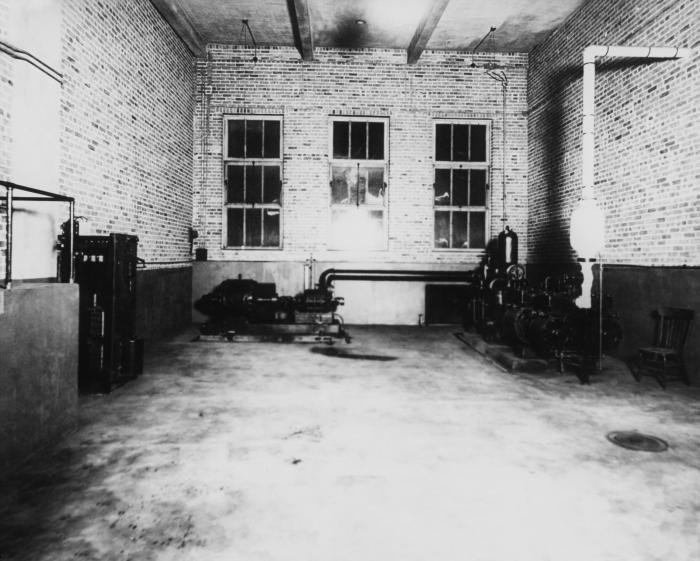 This historic 1934 image revealed the interior of the Hastings, Minnesota municipal water supply's 'drilled' well pumping station, while PHI