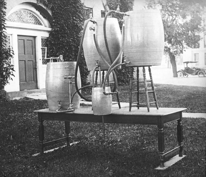 This 1910 photograph depicted a portable emergency hypochlorite plant that was the property of the Minnesota State Board of Health, Division