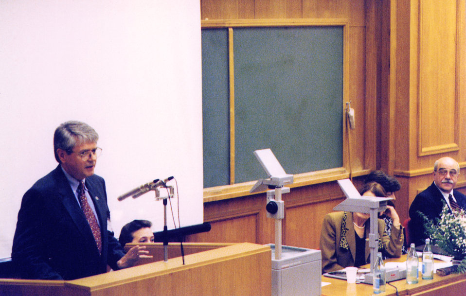 Here Bob Baldwin, Assoc. Dir., Off. of Global Health, is seen speaking at the US-Russia Health Committee in Moscow, 1997.