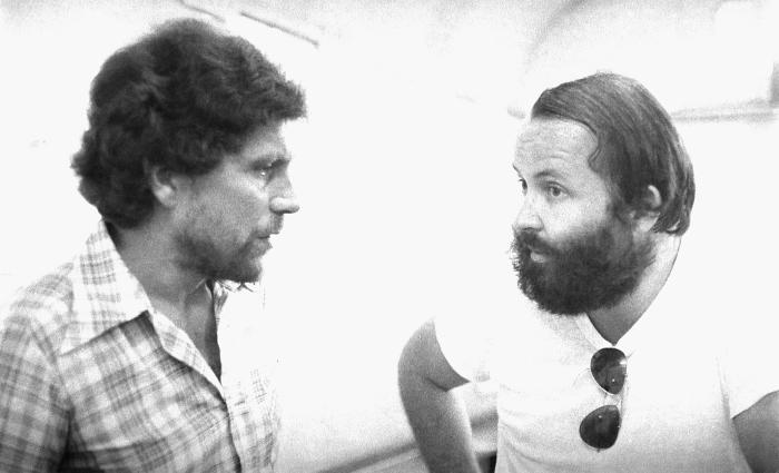 World Health Organization epidemiologists Dr. Daniel Tarantola (Lt), and Dr. Pierre Claquin were photographed here in 1975 as they discussed