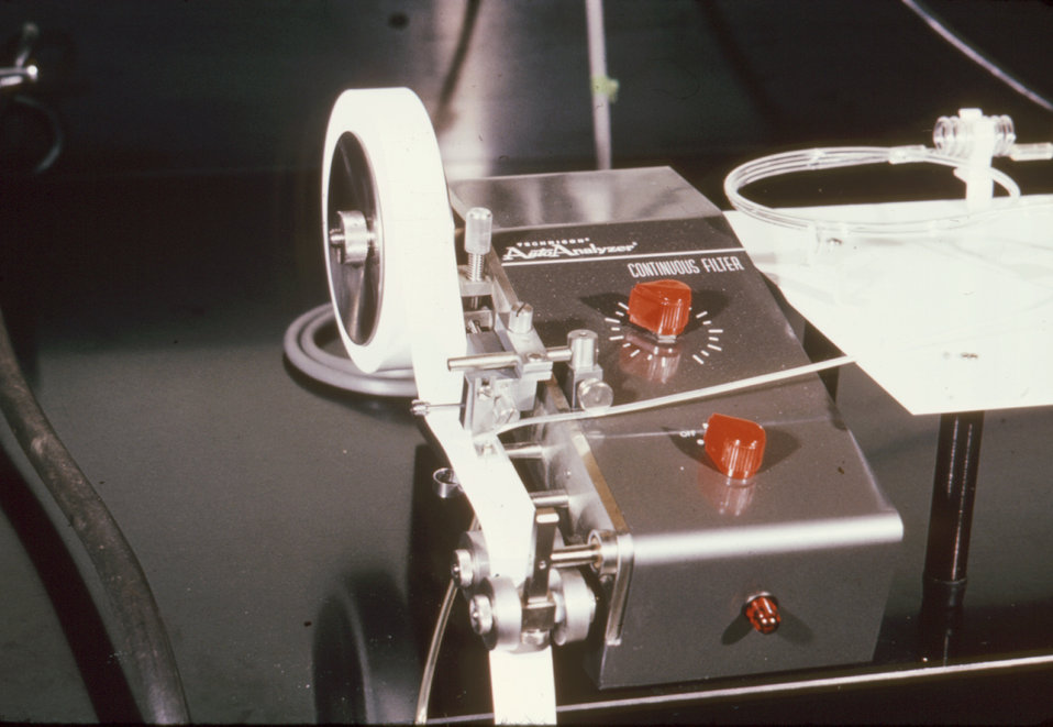 This 1969 photograph depicts the Automated Reagin Test (ART) equipment used in syphilis screening.