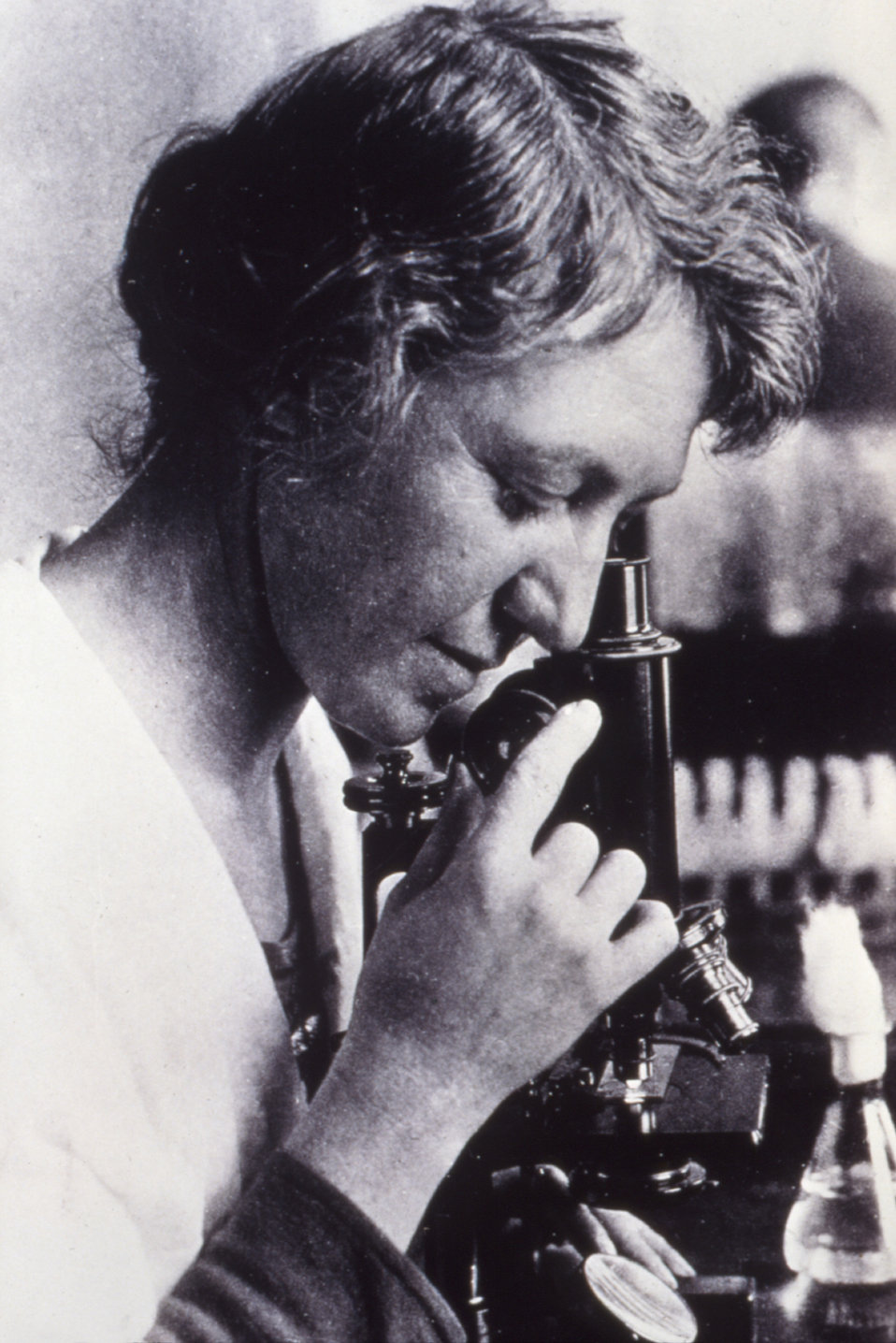 At her microscope, this historic image of bacteriologist Dr. Ida A. Bengston (1881-1952), was taken from the U.S. Public Health Service reco
