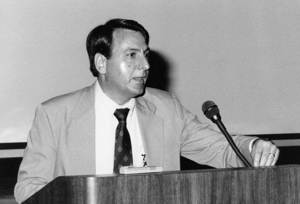 This 1993 photograph showed Dr. Mitchell Gail of the National Cancer Institute (NCI) as he addressed Centers for Disease Control staff durin