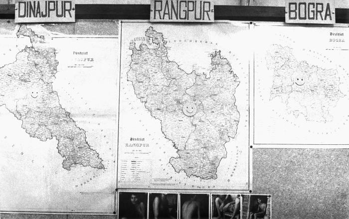 These three maps represented the three Bangladesh districts of Dinajpur, Rangpur, and Bogra that at the time this 1975 photograph was captur