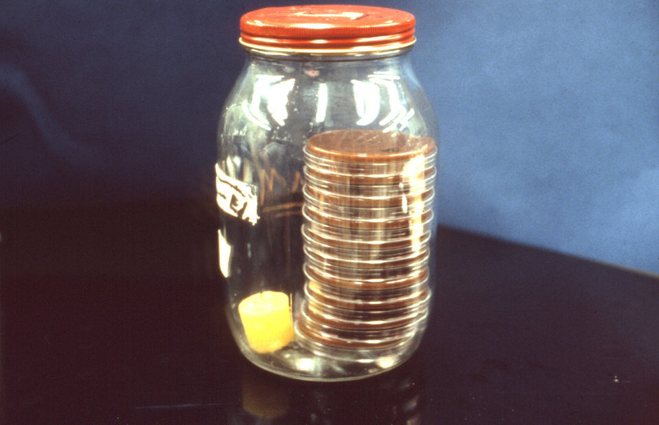 This candle jar contains specimens to be analyzed having been grown in a CO2 enriched atmosphere.