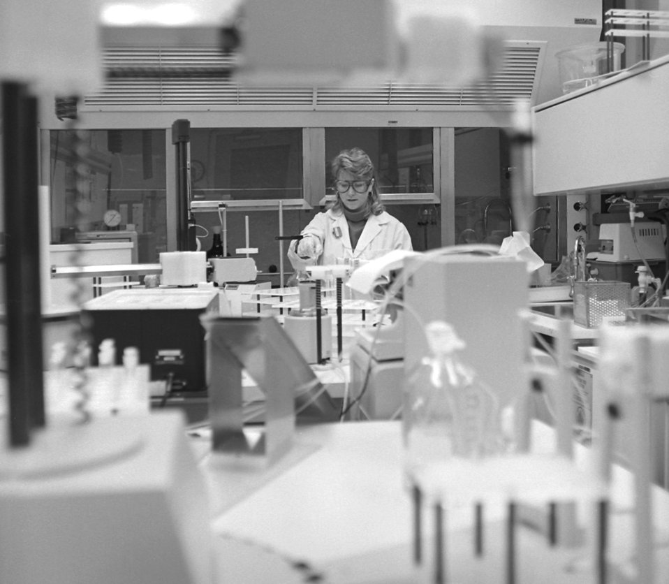 CDC lab technician, Dana Shealy, is conducting a lab experiment in the toxicology robotics lab.