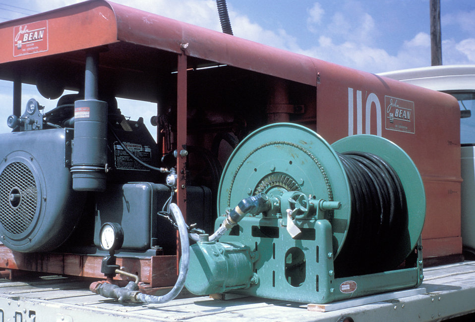 A photograph of mosquito spray truck equipment during the 1965 Aedes Aegypti eradication program in Miami, Florida.