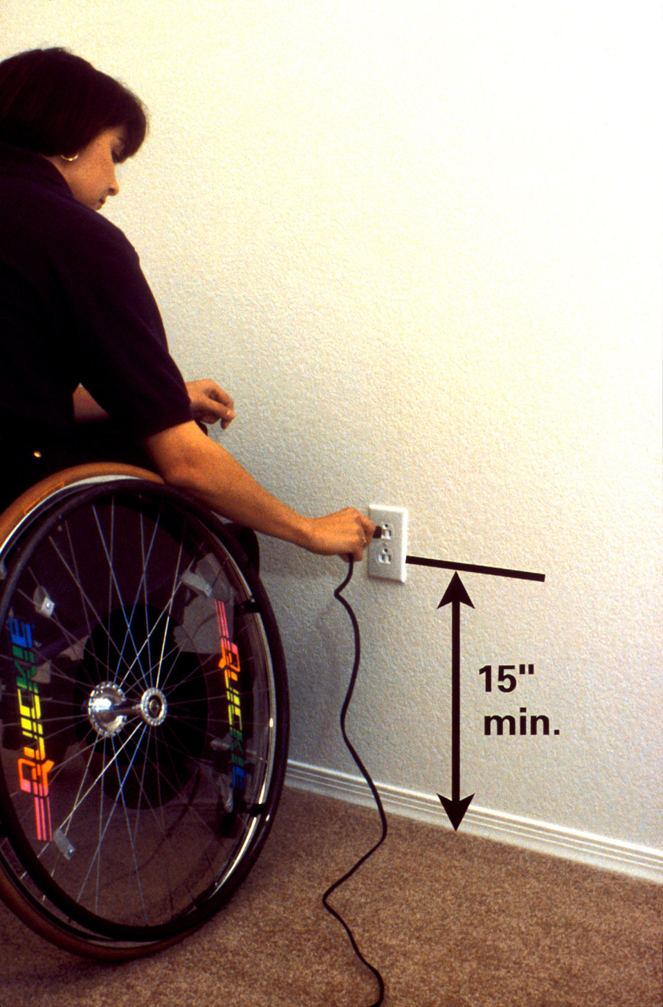This 1997 image showed that by mounting an electrical outlet no lower than fifteen inches above floor level, a wheelchair-seated individual