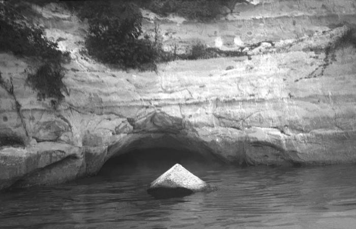 This historic 1919 photograph revealed a sewer outlet that drained its contents into the Mississippi River that had originated from Minneapo