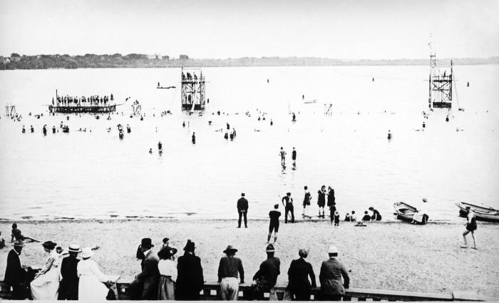 This historic 1917 photograph of the Lake Calhoun, Minneapolis public bathing beach, offered a view of the water front. It was taken during