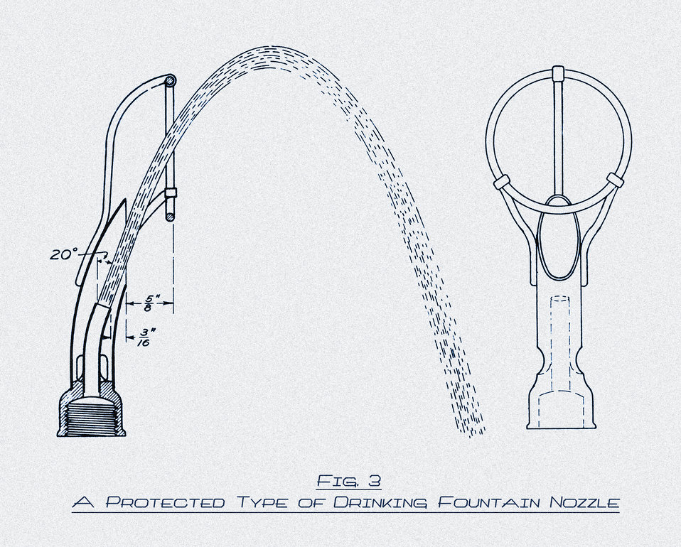 This historic 1917 drawing showed an improved design for a 'protected' type of drinking fountain nozzle. The Minnesota Department of Health