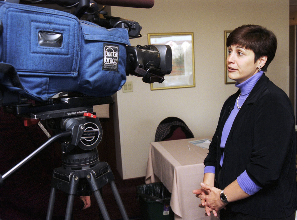 CDC Clinician, Joanne Cono, MD, is being interviewed by a television news team during the 2002 Smallpox Vaccinator Workshop.