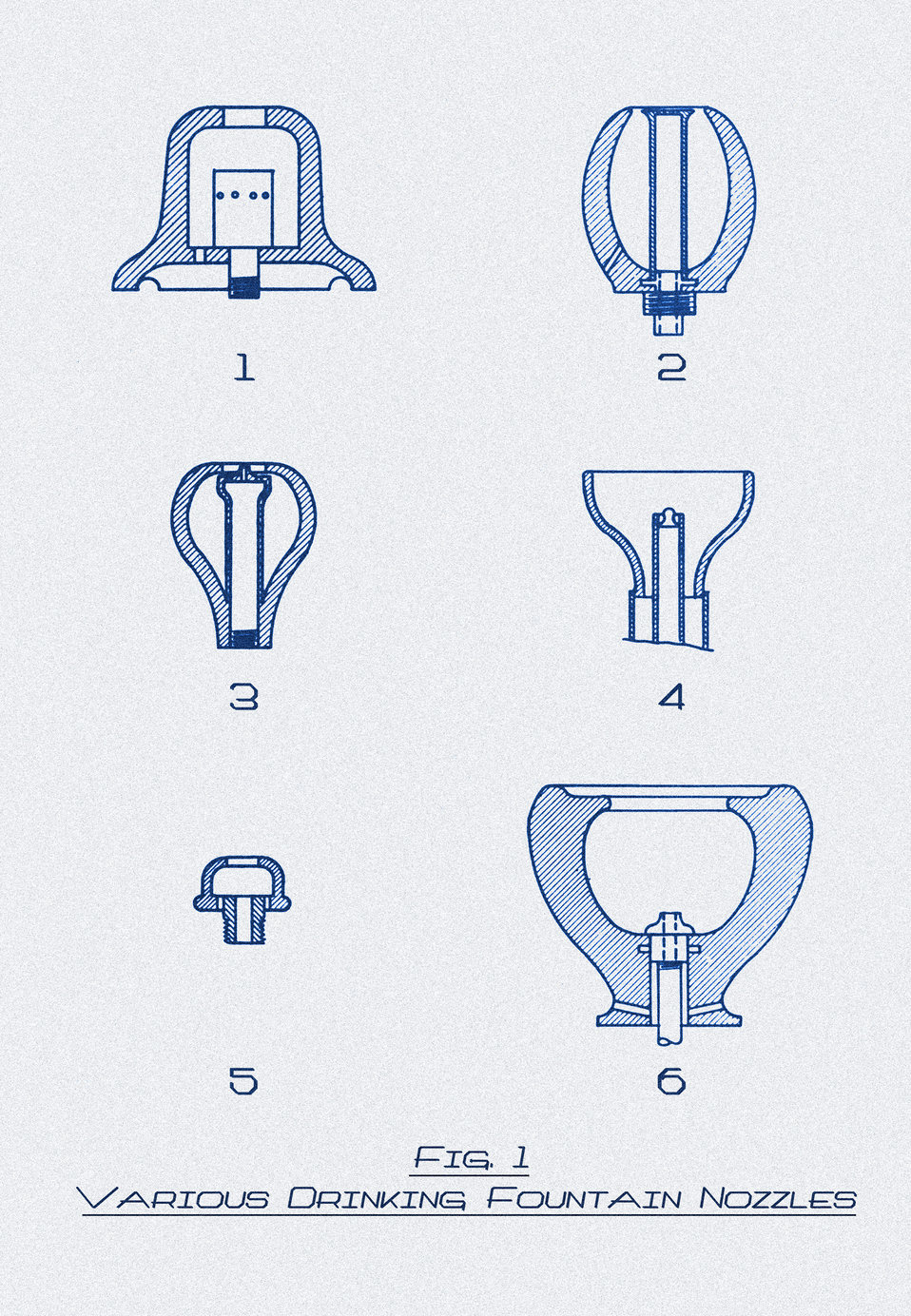 Created in 1917, this historic drawing depicted six different types of unsatisfactorily designed drinking fountain nozzles. The Minnesota De