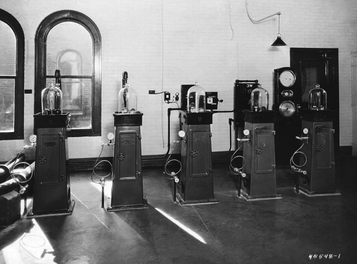 This historic 1917 photograph depicted a number of chlorinators that were used inside the Minneapolis, Minnesota water filtration plant. The