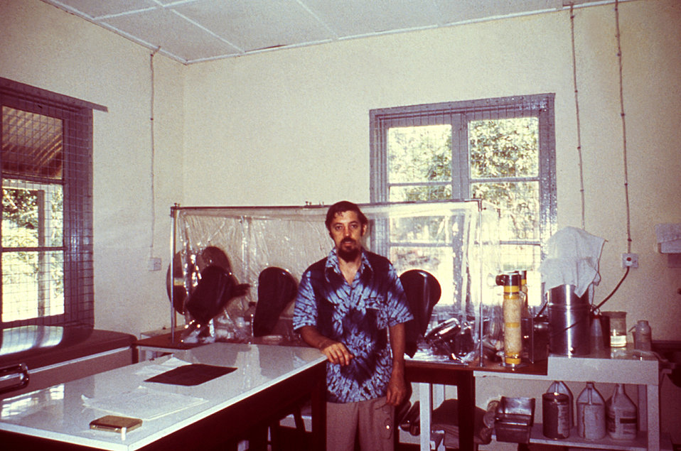 This was Dr. Joseph McCormick in his Sierra Leone lab. In 1977 he participated in the Lassa Fever Project as an EIS Officer.
