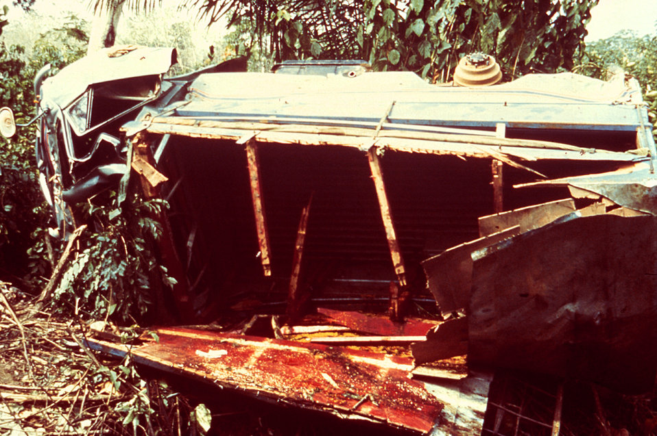 This 1977 image depicts a lorry accident in Mano Junction, Sierra Leone.