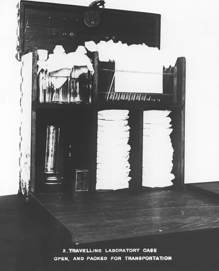 This 1916 photograph depicted a traveling laboratory case that has been opened, revealing its contents in place inside the case, ready for t