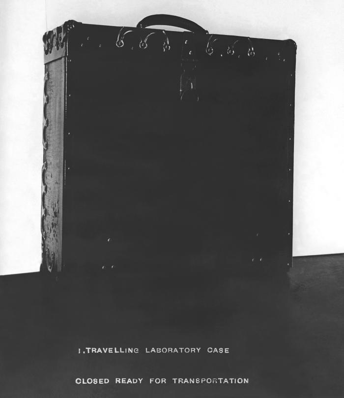 This 1916 photograph depicted a traveling laboratory case that has been closed, and made ready for transportation. A view of the packed case