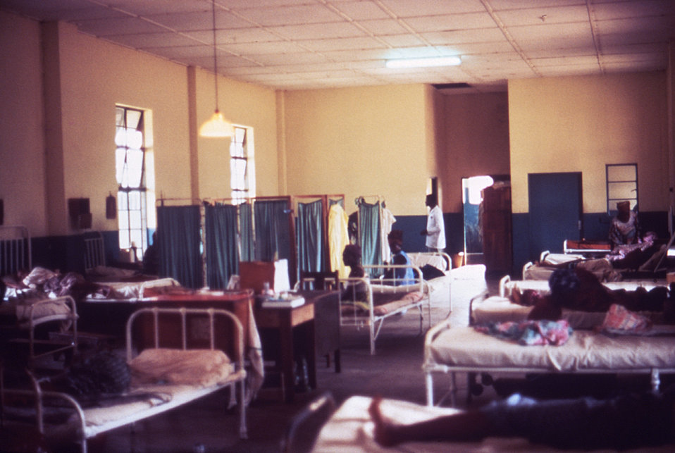 This 1977 image depicts the female hospital ward housing those affected by Lassa fever in Segbwema, Sierra Leone.