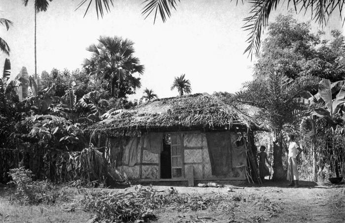 This image depicted a typical Bangladesh home with its thatched roof and walls, and wooden infrastructure. It was a permanent dwelling, as o