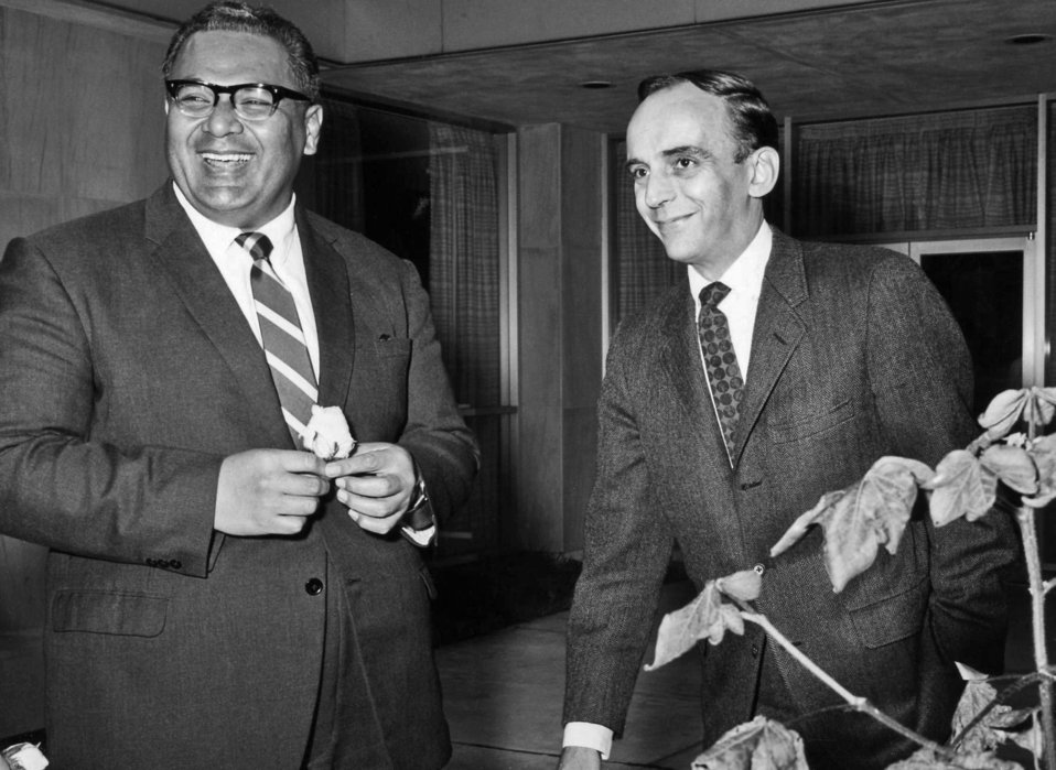 This 1967 photograph shows then Centers for Disease Control Director, David J. Sencer, M.D., M.P.H., (1966-1977) (right), meeting with the P