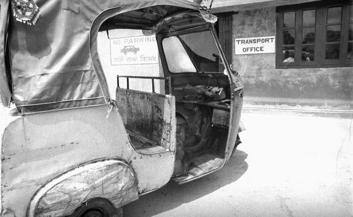 This photograph depicted a 'baby taxi' used to transport Bangladesh commuters inside, and from town to town. This photograph provided by Dr.