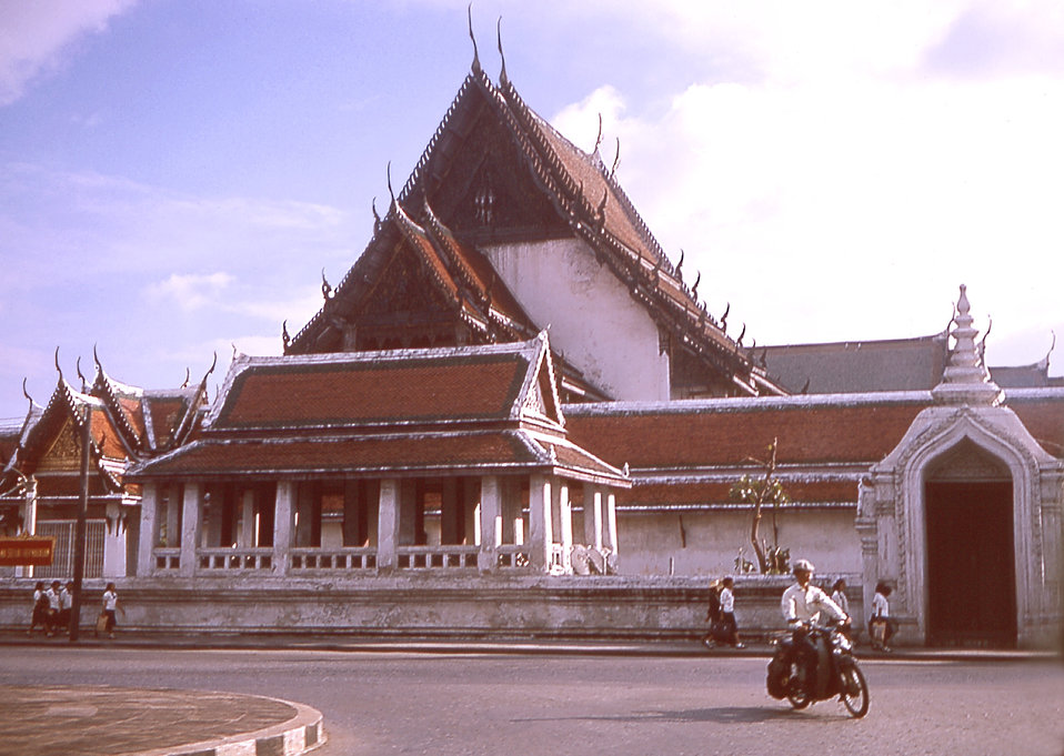 Dr. Alex Langmuir shot this 1964 photograph of a temple in Bangkok, Thailand during an EIS group visit.