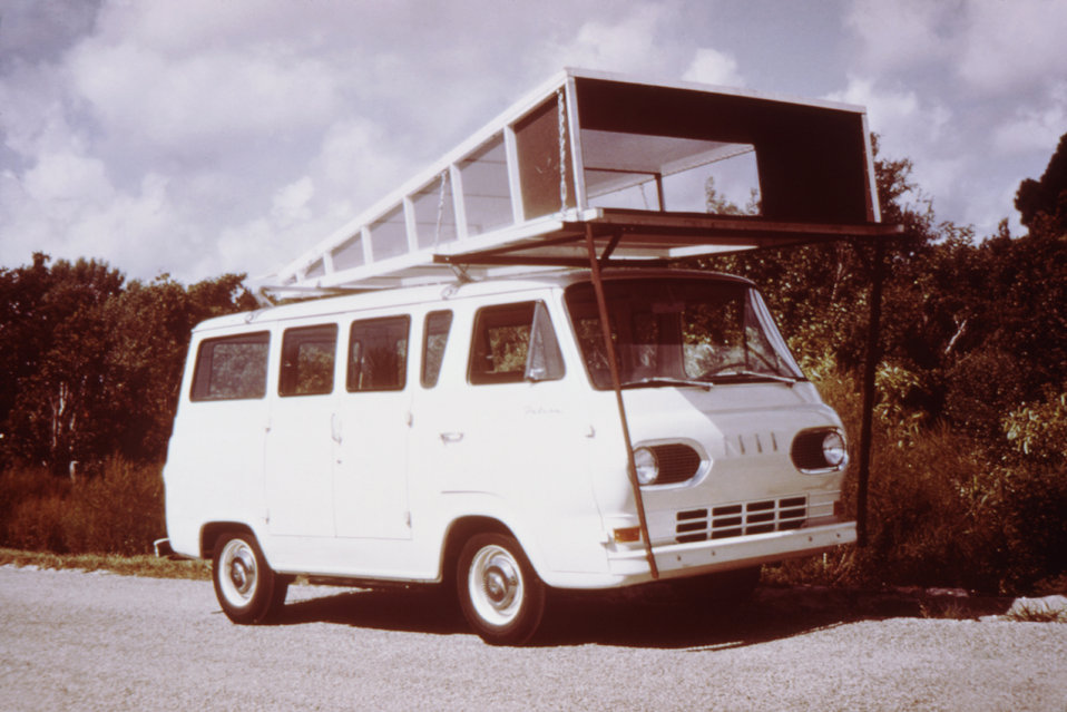 This 1974 photograph depicts a van-mounted trap used to catch mosquitoes to be used in an arbovirus isolation study.