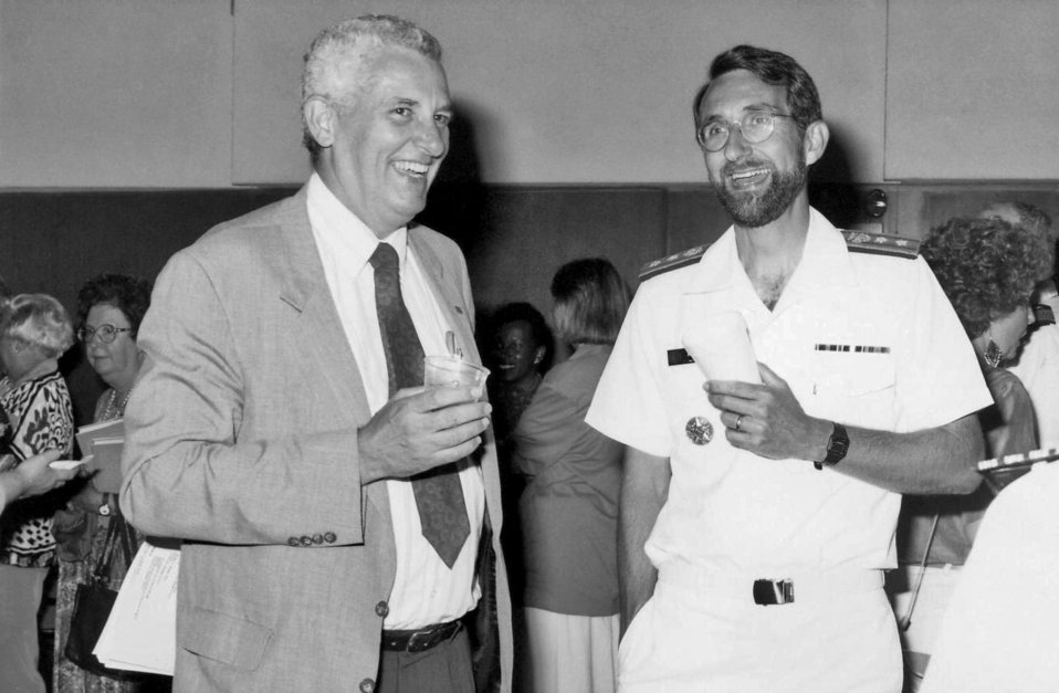 This 1992 photograph, taken during the Centers for Disease Control's 46th anniversary ceremonies, showed Fred Kroger (left), who at the time