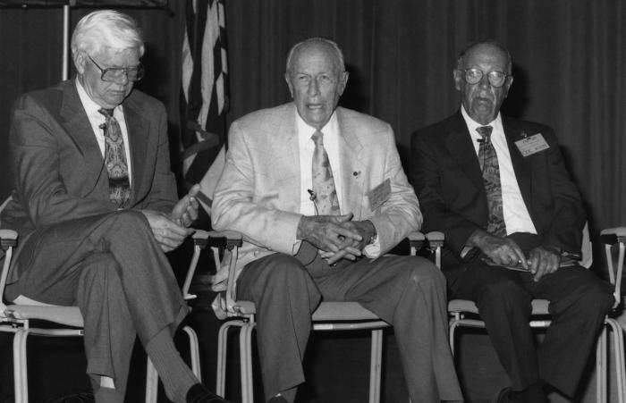 This 1992 photograph, taken during the Centers for Disease Control's 46th anniversary ceremony, showed from left to right organization membe