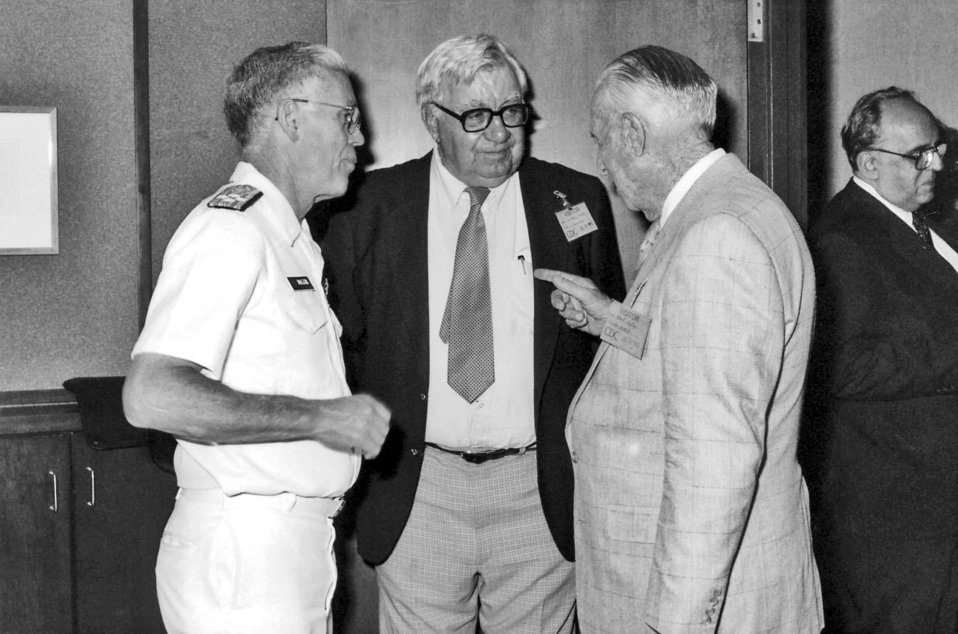 This 1992 photograph, taken during the Centers for Disease Control's 46th anniversary ceremony, showed (left to right) former organization D