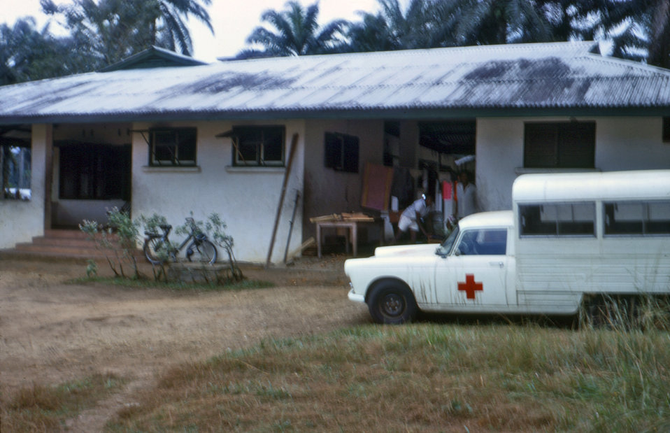 This photograph shows an International Committee of the Red Cross (ICRC) kitcar that was used to move people and supplies during the Nigeria