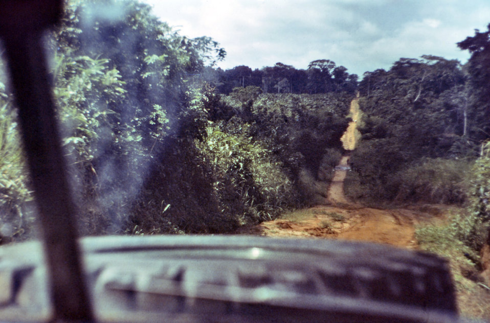 This photograph was taken from within the vehicle that transported suspected Ebola patient Del Conn during the first leg of his journey from