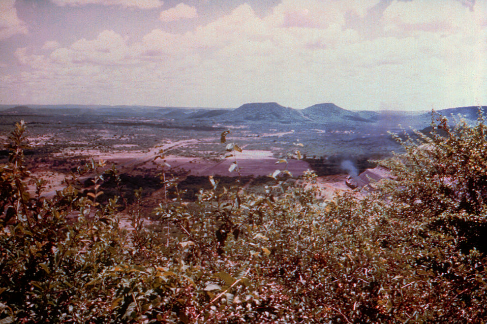 This view overlooks a Wankie, Rhodesian, now Zimbabwe, colliery where a small hospital and outpatient clinics are located.