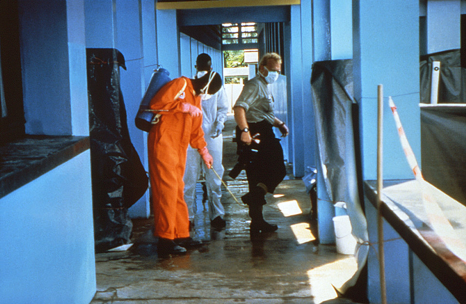 This image depicting clinic sanitary procedures was captured during the Kikwit, Zaire Ebola outbreak in 1995.