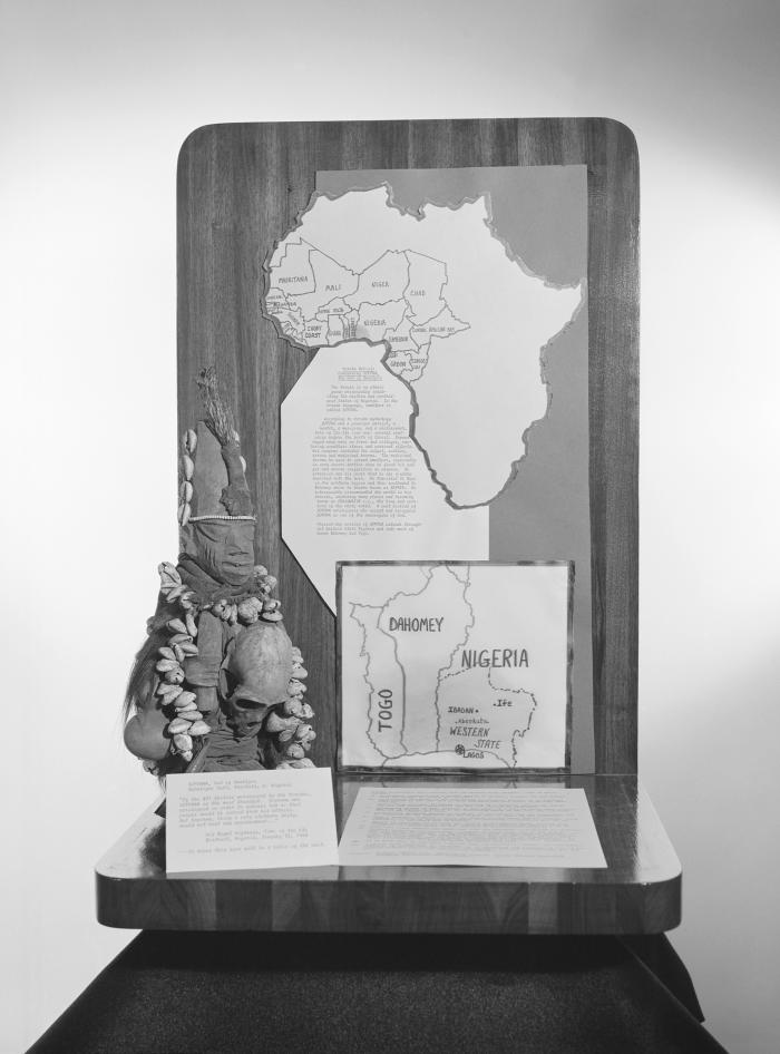 This 1968 photograph depicted a map of Western Africa and the coastal nations surrounding Nigeria, a description of the Yoruban beliefs conc