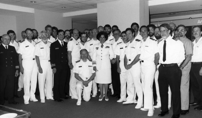 This 1986 photograph, taken during the Centers for Disease Control's 40th anniversary ceremony, showed members of the Centers for CDC's Offi