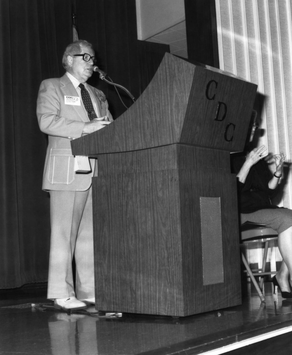 This 1986 photograph showed Otis Ray Bowen, speaking to Centers for Disease Control employees at the organization's 40th anniversary ceremon