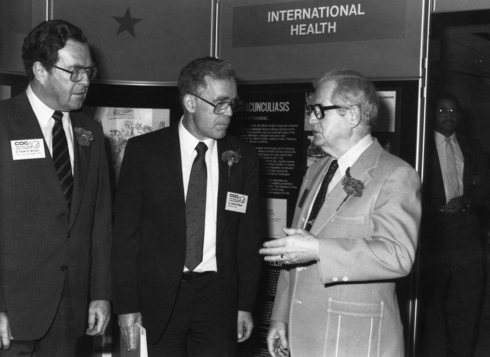 This photograph showed former Health and Human Services Secretary, Dr. Otis Ray Bowen (Right), speaking with former CDC Director, Dr. James