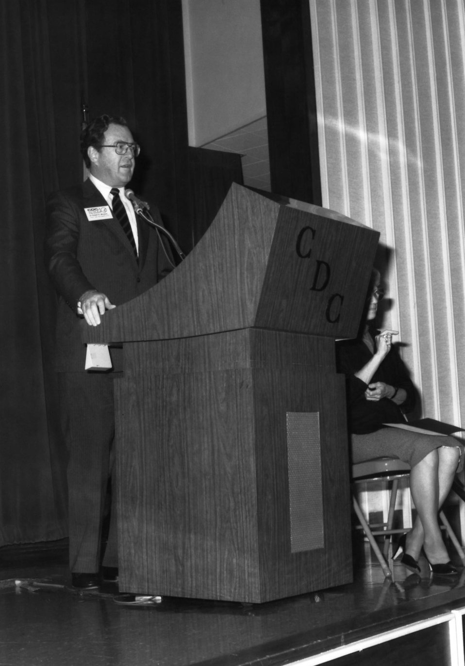 This photograph showed the former Assistant Secretary for Health, Robert E. Windom, M.D., speaking to Centers for Disease Control employees