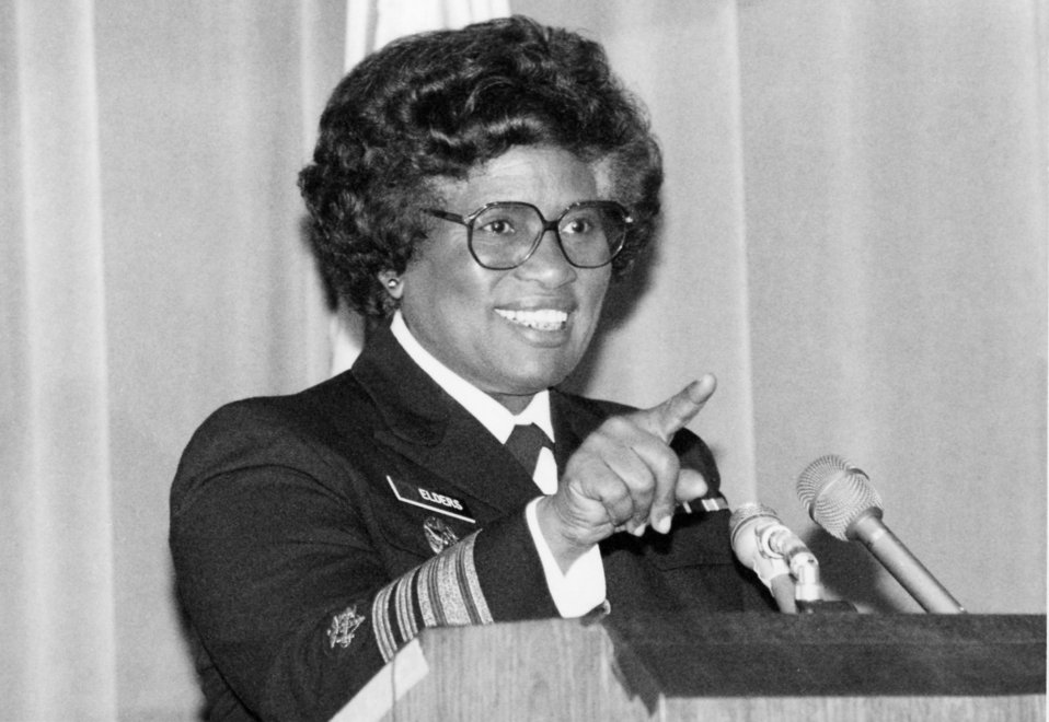 This photograph showed former Surgeon General Joycelyn Elders (1993 - 1994) as she was addressing employees at the Centers for Disease Contr