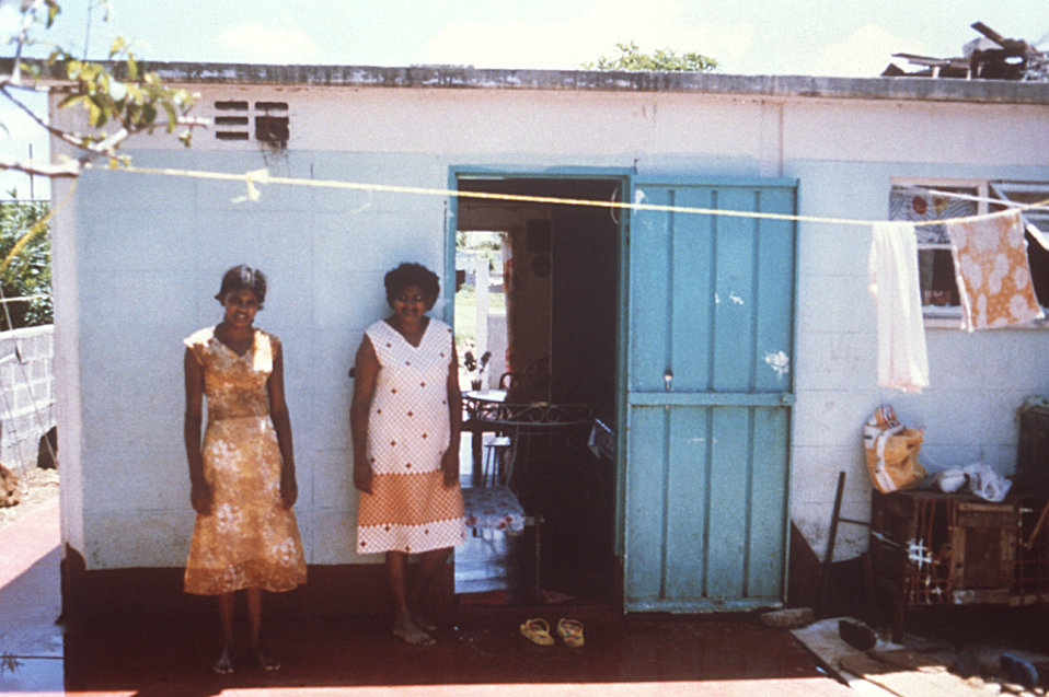 This home and its residents were photographed in 1980 during a Cite' Roche Bois, Mauritius typhoid outbreak investigation.