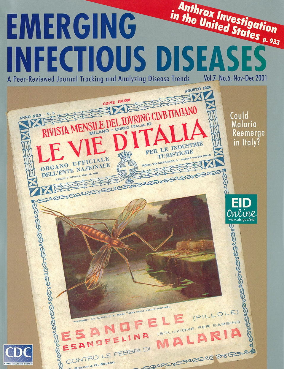 Emerging Infectious Diseases (EID) cover artwork for Volume 7, Number 6, November-December 2001 issue.